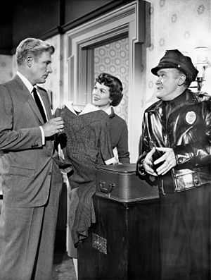 William Hopper - William Hopper, Barbara Hale, and Frank Sully in the CBS-TV series Perry Mason (1958)