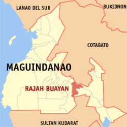 Map of ماگوئنداناؤ showing the location of Rajah Buayan