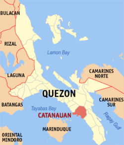 Map of Quezon showing the location of Catanauan