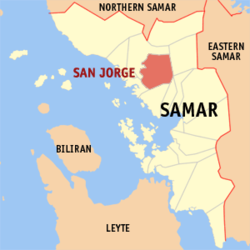 Map of Samar with San Jorge highlighted