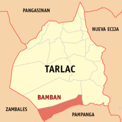 Map of Tarlac showing the location of Bamban