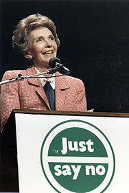 "Photograph of Mrs. Reagan speaking at a ""Just Say No"" Rally in Los Angeles - NARA - 198584.jpg"