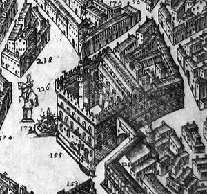 Palazzo Vecchio - Engraving of a map depicting the palazzo and square with the corridor, by Stefano Buonsignori, 1584