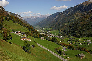 Linthal, Glarus - View of village, looking down the valley from the Klausen Pass road