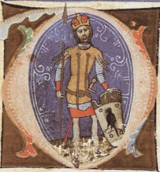 Turul - Miniature of Hungarian chieftain Ügyek, displaying the turul on his shield (Chronicon Pictum, 14th century)