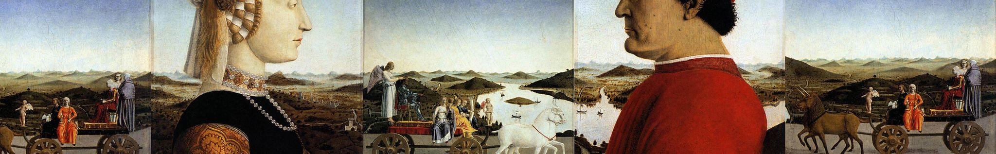 Piero, Double portrait of the Dukes of Urbino, landscape continuation