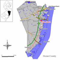 Map of Pine Beach in Ocean County. Inset: Location of Ocean County highlighted in the State of New Jersey.