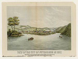 D-Scribe Digital Publishing - A view of the City of Pittsburgh in 1817, taken from a sketch by E. C. Gibson, is part of the Pittsburgh Prints Collection of D-Scribe's Historic Pittsburgh collection
