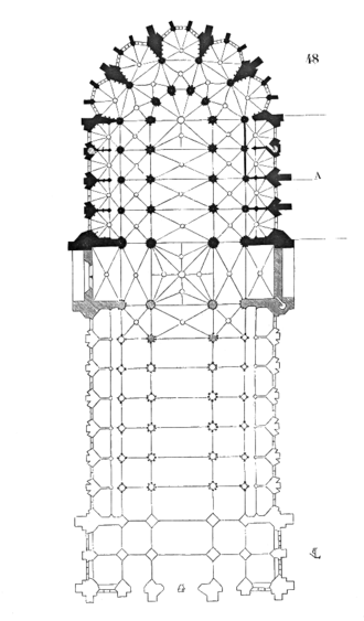 Narbonne Cathedral - Plan by Viollet-le-Duc, showing in black the actual structure and in grey his suggestion of some of the areas not built