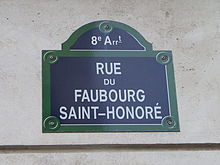 Plaque rue du Faubourg-Saint-Honoré à Paris.JPG