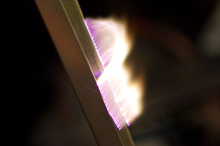 Artificial plasma produced in air by a Jacob's Ladder Plasma jacobs ladder.jpg