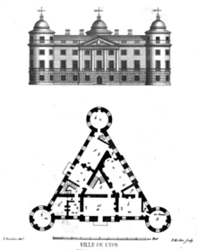 Line-drawing of the front-elevation of an imagined four-story stately home having a central portico with four columns and round towers at left and right corner; beneath which is a floorplan of the building showing its equilateral triangular form.