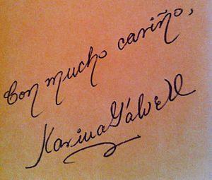 Karina Galvez - Poet Karina Galvez' signature and dedication