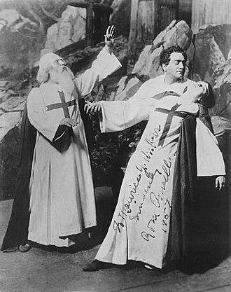 Rosa Ponselle - Rosa Ponselle at the Metropolitan Opera as Leonora falling back into the arms of Enrico Caruso as Don Alvaro in La forza del destino.