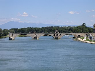 Avignon - The Pont d'Avignon on the Petit Rhône. In the background is Mont Ventoux.