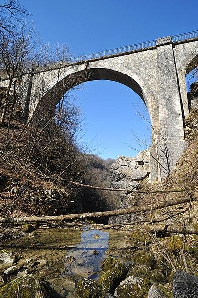 Pont du Diable (Devil's bridge) crossing stream Petit Lison near Crouzet-Migette; Doubs, France.