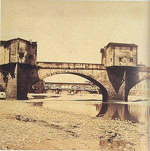 Ponte alle Grazie - Photograph of Ponte alle Grazie in 1860s, with Ponte Vecchio in background.