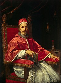 Pope Clement IX (1600-1669), whose intervention in the Formulary Controversy led to a 32-year lull (1669-1701) in the controversy over Jansenism known as the Peace of Clement IX.