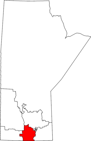 Portage—Lisgar - Portage—Lisgar in relation to other Manitoba federal electoral districts as of the 2013 Representation Order.