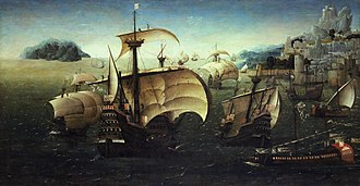 Portuguese India Armadas - The large carrack, thought to be the Santa Catarina do Monte Sinai, and other Portuguese carracks of various sizes. From painting, attributed to either Gregório Lopes or Cornelis Antoniszoon, showing voyage of the marriage party of Portuguese Infanta Beatriz to Savoy, 1521