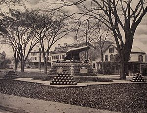 USS Lancaster (1858) - Image: Postcard Stamford CT West Park Cannon 1910