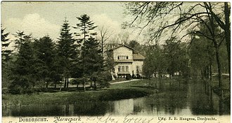 Postcard from Dordrecht in 1901, showing the former building in Merwepark before its destruction by bombardment in 1944. Postcard - 1901 - Merwepark, Dordrecht, Netherlands.jpg