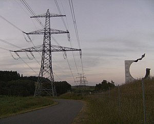 Overhead line crossing - 380 kV-powerline crossing the national border between Bavaria, Germany and the Czech Republic near Waidhaus. The pylon in the foreground stands in Bavaria and the others are in the Czech Republic