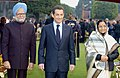 Pratibha Devisingh Patil, the Chief Guest President of France, Mr. Nicolas Sarkozy and the Prime Minister, Dr. Manmohan Singh, at the 'At Home' function, organised by the President, in New Delhi, on January 26, 2008.jpg