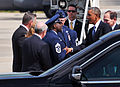 President Barack Obama, second from right, exchanges greetings with U.S. Air Force Chief Master Sgt. Maurice Williams, center left, the command chief of the 145th Airlift Wing, North Carolina Air National Guard 140826-Z-FY745-146.jpg