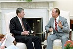 President Ronald Reagan Meeting with Senator Strom Thurmond in The Oval Office.jpg