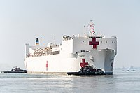 President Trump at the Send Off for the USNS Comfort (49716643846).jpg