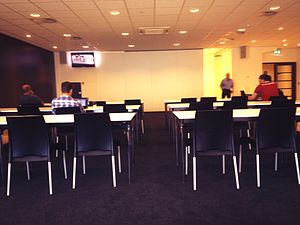 Sports journalism - Press room at the Philips Stadion, home of PSV Eindhoven, prior to a press conference