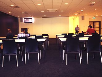 Philips Stadion - Press room at the Philips Stadion prior to a press conference.