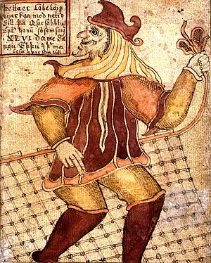Loki -  Loki with a fishing net (per Reginsmál) as depicted on an 18th-century Icelandic manuscript (SÁM 66)