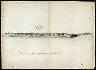 Prospecto do Lugar do Carvoeiro, em outro tempo Aldeia de Aracari, situado na margem meridional do Rio Negro