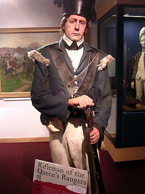 Queen's Rangers - A rifleman, in the Queen's Rangers, displayed in the National Army Museum, London, England, UK