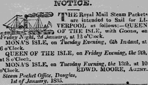 SS Queen of the Isle - Winter timetable for January 1835, regarding the sailings of the Queen of the Isle and ''Mona's Isle.''