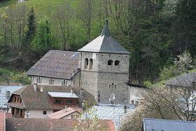 Vue du clocher de l'église de Queige