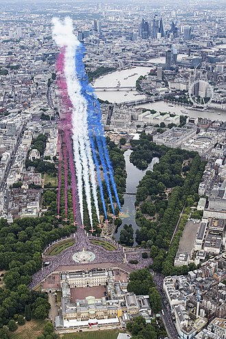 Flypast - The Red Arrows taking part in the RAF100 parade and flypast over London