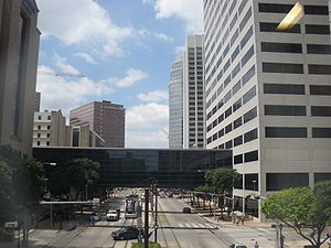 Texas Medical Center - Fannin Street within the Texas Medical Center, viewed from the crosswalk between two buildings of the Houston Methodist hospital