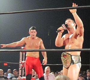 The American Wolves - Davey Richards after winning the ROH World Championship from Eddie Edwards