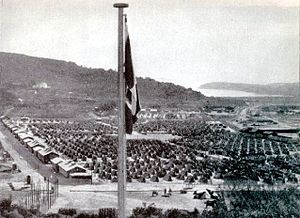 Rab concentration camp - Italian flag over the Rab concentration camp.