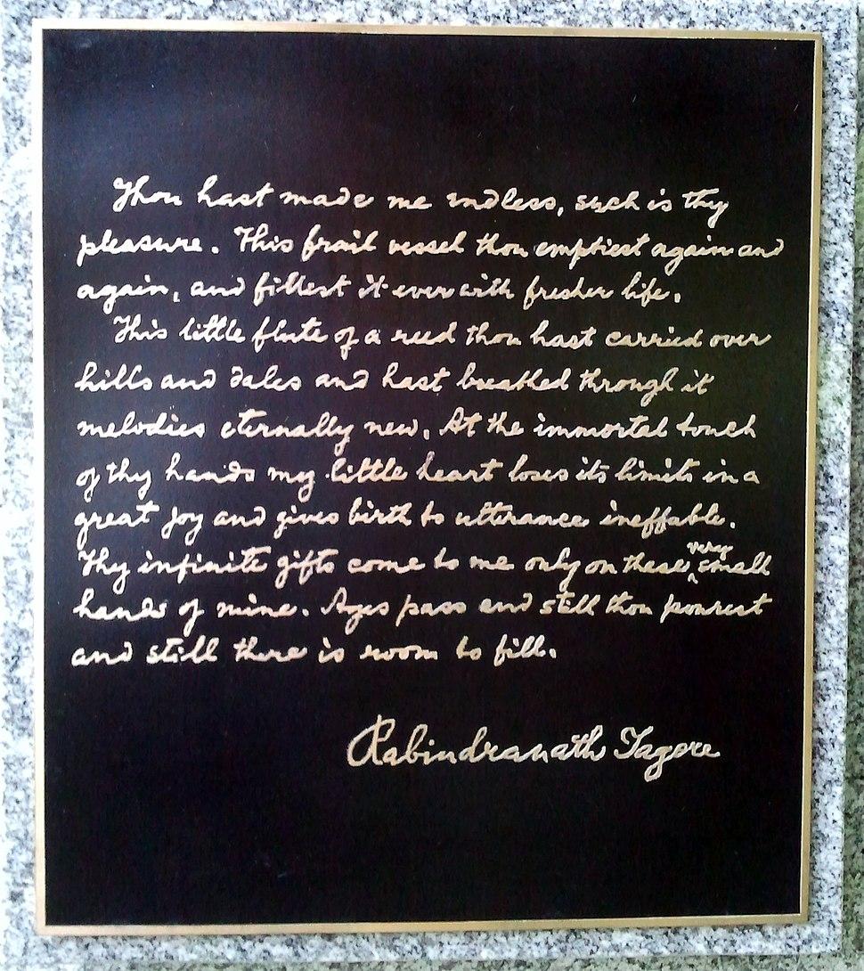 Rabindranath Tagore monument inscription in Gordon Square