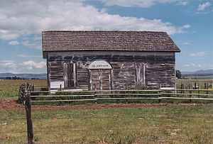 Morrisite War - Morrisite meetinghouse visible on the west side of Interstate 90 south of Deer Lodge