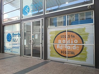 Radio Adelaide - Radio Adelaide at its temporary studios shared with Fresh FM in the East End precinct.