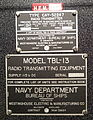 Radio Transmitter Model TBL-13, US Navy, Westinghouse - National Electronics Museum - DSC00254.JPG