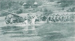 Radomir Vešović - Together with Montenegrin artillery unit, Vešović crosses the river Lim riding a horse, October 1912