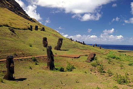 "Easter Island, deforested. According to Jared Diamond: ""Among past societies faced with the prospect of ruinous deforestation, Easter Island and Mangareva chiefs succumbed to their immediate concerns, but Tokugawa shoguns, Inca emperors, New Guinea highlanders, and 16th century German landowners adopted a long view and reafforested."" Rano Raraku quarry.jpg"