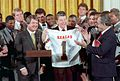 Reagan with Miami Hurricanes football team 1988.jpg