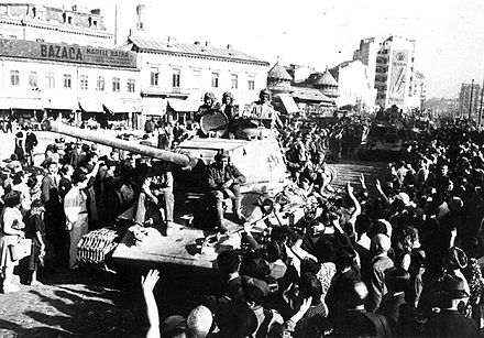 The Red Army is greeted in Bucharest, August 1944. Red Army greeted in Bucharest.jpg